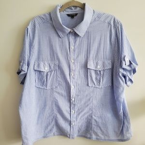George | 3X | Button Up Striped T-Shirt